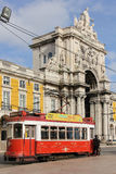 Triumphal arch in Commerce Square. Lisbon.Portugal. Augusta street ends up in a triumphal arch open to Commerce Square. Lisbon. Portugal Royalty Free Stock Photo