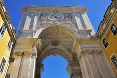 Triumphal Arch in the Commerce Square, Lisbon, Portugal. Augusta Street Triumphal Arch in the Commerce Square Praca do Comercio or Terreiro do Paco in Lisbon Royalty Free Stock Photography