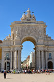 Triumphal Arch in the Commerce Square, Lisbon, Portugal. Lisbon, Portugal - June 11, 2017: Augusta Street Triumphal Arch in the Commerce Square Praca do Comercio Stock Images