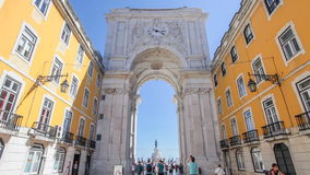 Triumphal Arch connecting Augusta street with Praca do Comercio. Lisbon. Lisbon, Portugal. August  31, 2014: the monumental Triumphal Arch that connects the stock video