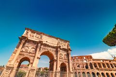 Arch of Constantine in Rome, Italy. Triumphal Arch of Constantine near Colosseum in Rome, Italy, toned image Stock Photos