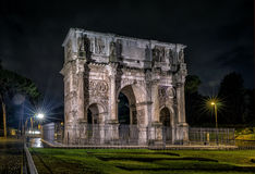 Triumphal Arch of Constantine at night in Rome Royalty Free Stock Photography