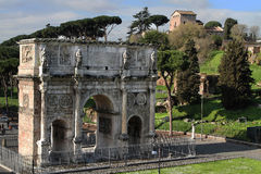 Triumphal Arch of Constantine and Palatine. Triumphal Arch of Constantine seen from the Colosseum Royalty Free Stock Photography