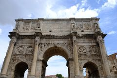 Arch of Constantine in Rome. The Triumphal Arch of Constantine in Rome, Italy. Constructed in the period 312 and 315 AD, the arch lies between the coliseum and Stock Photo