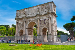 The Triumphal Arch of Constantine in Rome, Italy. Arch is located near the Colosseum. It was built in the year 315 and is dedicated to the victory of Royalty Free Stock Photo