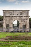 Triumphal arch of Constantine in Rome with tourists, Rome, Italy stock images