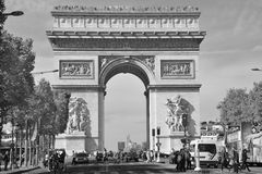 The Triumphal Arch de l Etoile. PARIS, FRANCE OCTOBER 19: The Triumphal Arch de l Etoile ( arc de triomphe) . The monument was designed by Jean Chalgrin in 1806 stock photos