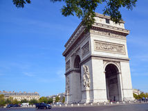 The Triumphal Arch de l Etoile. PARIS, FRANCE OCTOBER 19: The Triumphal Arch de l Etoile ( arc de triomphe) . The monument was designed by Jean Chalgrin in 1806 royalty free stock images