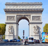 Triumphal Arch de l Etoile. PARIS, FRANCE OCTOBER 19: Triumphal Arch de l Etoile arc de triomphe . The monument was designed by Jean Chalgrin in 1806 in Paris royalty free stock photography