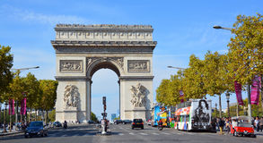 Triumphal Arch de l Etoile. PARIS, FRANCE OCTOBER 19: Triumphal Arch de l Etoile arc de triomphe . The monument was designed by Jean Chalgrin in 1806 in Paris stock photo