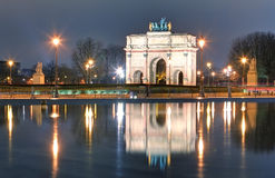 Triumphal Arch (de Triomphe du Carrousel) in front of Louvre, Pa. Ris Royalty Free Stock Photography