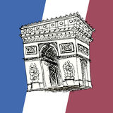 Triumphal arch drawing. Sketch flag Stock Image