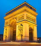 Triumphal Arch at dusk, Paris Stock Images