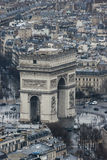 Triumphal Arch from Eiffel Tower. A View to the Triumphal Arch from Eiffel Tower Royalty Free Stock Photography