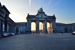 Triumphal arch in the evening in Cinquantenaire Park, Brussel, Belgium Jubelpark, Jubilee Park stock image