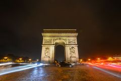 Triumphal Arch at evening in Paris, France royalty free stock photo