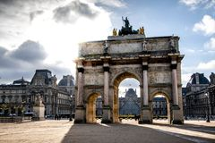 Triumphal arch in front of the Louvre Museum royalty free stock images