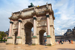 Triumphal Arch in front of  the Louvre museum. Paris, France Royalty Free Stock Photo