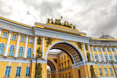 Triumphal Arch of General Staff Building in St. Petersburg, Russ Royalty Free Stock Images