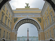 Triumphal arch of the General staff, St. Petersburg. Triumphal arch of the General staff. Saint Petersburg. Russia. Landmark. Tourist attraction. Historic Royalty Free Stock Photos