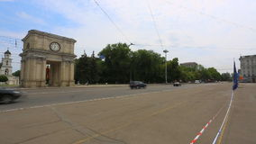 The Triumphal Arch and the Government building in Chisinau - Moldova stock video footage
