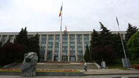 The Triumphal Arch and the Government building in Chisinau - Moldova stock video