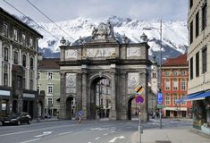 Triumphal Arch in Innsbruck. The triumphal arch in Innsbruck Royalty Free Stock Image