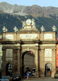 Triumphal Arch: Innsbruck. The Triumphal Arch, built in Roman style, was commissioned by Empress Maria Theresia in 1765 to mourn the death of her husband Royalty Free Stock Images