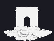 Triumphal Arch isolated on black background. Triumphal Arch in the clouds. Sights of Paris and France. Stock Photos