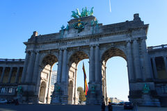 Triumphal Arch in the Jubilee Park. The Triumphal Arch in the Jubilee Park Brussels - one of the architectural symbols of Brussels, Belgium Royalty Free Stock Photo