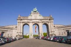 Triumphal Arch,Jubilee Park, Parc du Cinquantenaire Brussels, stock image
