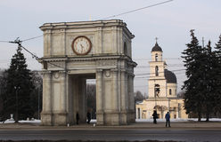 Triumphal arch, Kishinev (Chisinau) Moldova. The Triumphal arch is a monument situated in Central Chişinău next to the Nativity Cathedral on Piața Marii Adun Royalty Free Stock Photography