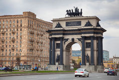 Triumphal arch on Kutuzov Avenue. MOSCOW, RUSSIA - MAY 01, 2017: Triumphal arch on Kutuzov Avenue Stock Photo