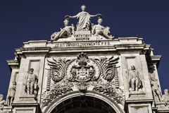Triumphal arch in Lisbon Royalty Free Stock Image