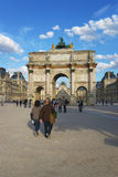 Triumphal Arch and Louvre Palace in Paris in France Royalty Free Stock Photography