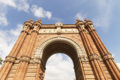 Triumphal arch made of brick. Barcelona Stock Photo