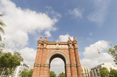 Triumphal arch made of brick. Barcelona Royalty Free Stock Photo