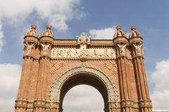 Triumphal arch made of brick. Barcelona Royalty Free Stock Photography
