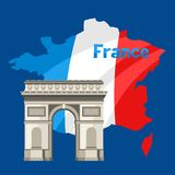 Triumphal Arch on map of France. Architectural sight illustration Stock Image