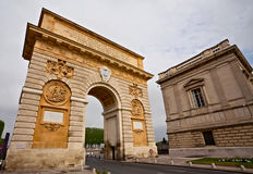 Triumphal arch, Montpellier, France. Built in 1692 by Charles-Augustin Daviler to the glory of Louis XIV Royalty Free Stock Image