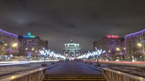 Triumphal arch in Moscow with Christmas. Illuminations at night timelapse 4K stock video