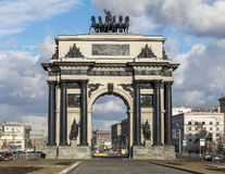 Triumphal arch in Moscow. City of Moscow. Russia. March 22, 2015: Arc de Triomphe in honor of the victory in 1812 Stock Photos