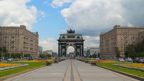 Triumphal Arch of Moscow. Moscow, Russia - July 16, 2017: Triumphal Arch of Moscow Guesthouse Kutuzov stock footage