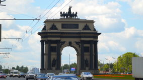 Triumphal Arch in Moscow. Moscow, Russia - July 16, 2017: Triumphal Arch in Moscow stock footage