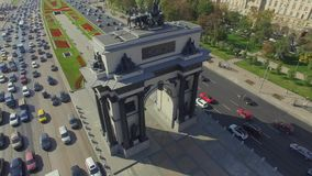Triumphal Arch in Moscow. Triumphal Arch shot by Drone 404 stock video footage