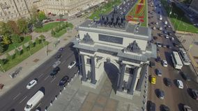 Triumphal Arch in Moscow. Triumphal Arch shot by Drone 404 stock footage