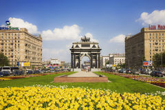 The triumphal arch in Moscow sunny day Stock Image