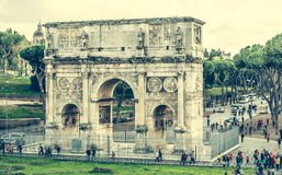 Triumphal arch near Coliseum. Rome, Italy - 18 November 2014: view on The Arch of Constantine is a triumphal arch in Rome near Coliseum Royalty Free Stock Photo