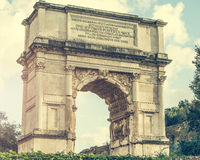 Triumphal arch near Coliseum. View on The Arch of Constantine is a triumphal arch in Rome near Coliseum Stock Photography