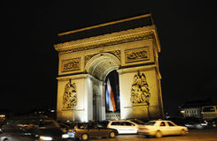 Triumphal arch in the night Stock Image